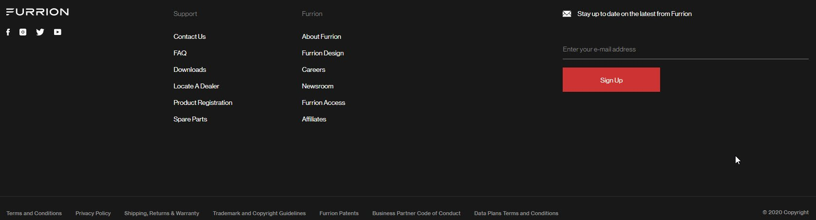 furrion website footer navigation example call to action